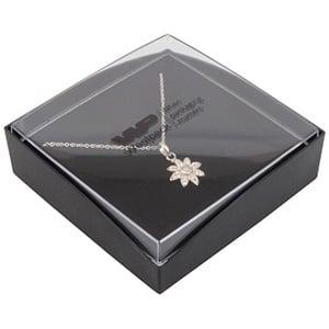 Grootverpakking -  Copenhagen Open doosje armband Transparant deksel, zwarte bodem / Zwart foam 80 x 80 x 24