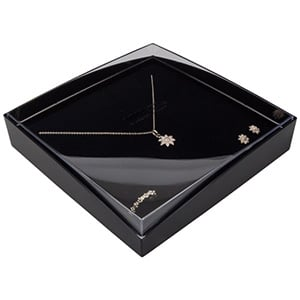 Bulk buy -  Copenhagen Open box for necklace / set Transparent lid, black base / Black foam 158 x 158 x 33