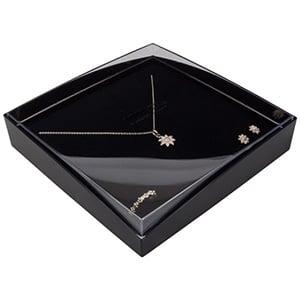 Grootverpakking -  Copenhagen Open doosje collier Transparant deksel, zwarte bodem / Zwart foam 158 x 158 x 33