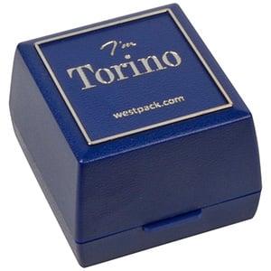Zakupy Hurtowe: Torino opakowania na pierścionek Niebieskie,plastikowe, srebrna ramka/ czarna gąbka 44 x 47 x 33