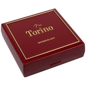 Grootverpakking -  Torino doosje hanger/armband Bordeaux plastic met gouden bies / Zwart foam 84 x 84 x 25