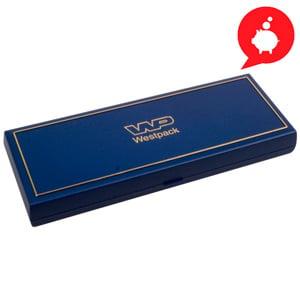 Grootverpakking -  Torino doosje halve choker Blauw plastic met gouden bies / Zwart foam 205 x 72 x 23