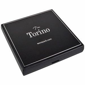 Grootverpakking -  Torino doosje voor collier Zwart plastic met zilveren bies / Zwart foam 160 x 160 x 23