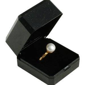 Bulk buy -  Verona box for ring Black plastic with gold tooling/ Black foam 45 x 50 x 34
