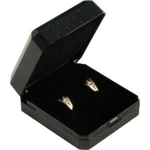 Bulk buy -  Verona box for earrings / brooch Black plastic with gold tooling/ Black foam 45 x 50 x 22