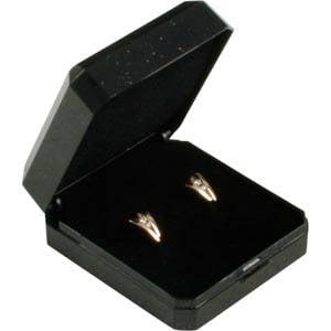 Storkøb -  Verona smykkeæske øreringe/ ørestikker Sort plastik med glitter og guldkant / Sort skum 45 x 50 x 22