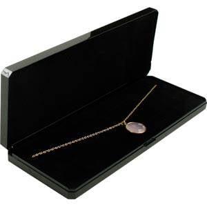 Bulk buy -  Verona box for necklace, oblong Black plastic with gold tooling/ Black foam 210 x 80 x 25