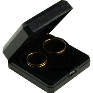 Storkøb -  Verona smykkeæske til vielsesringe Sort plastik med glitter og guldkant / Sort skum 60 x 60 x 23
