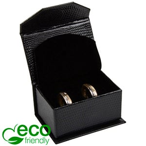 Nice ECO Jewellery Box for Wedding Rings/Cufflinks Black Croco Leatherette Cardboard/ Black Foam 67 x 45 x 35