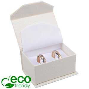 Nice ECO Jewellery Box for Wedding Rings/Cufflinks Cream Croco Leatherette Cardboard/ White Foam 67 x 45 x 35