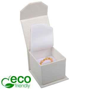 Nice ECO Jewellery Box for Ring Cream Croco Leatherette Cardboard/ White Foam 47 x 52 x 39