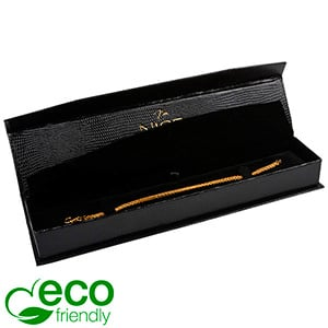 Nice ECO Jewellery Box for Bracelet Black Croco Leatherette Cardboard/ Black Insert 227 x 50 x 26
