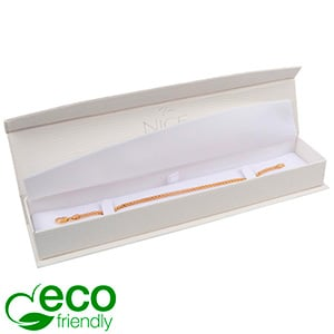 Nice ECO Jewellery Box for Bracelet Cream Croco Leatherette Cardboard/ White Insert 227 x 50 x 26