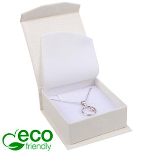 Nice ECO Jewellery Box for Pendant/Earrings/Brooch Cream Croco Leatherette Cardboard/ White Foam 65 x 70 x 27