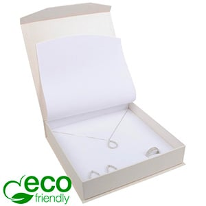 Milano ECO Jewellery Box for Necklace Pearl White Cardboard / White Interior 165 x 165 x 35