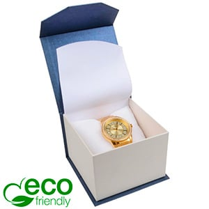 Milano ECO Jewellery Box for Watch Pearl Blue - White Cardboard / White Interior 100 x 100 x 70