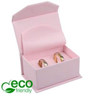 Milano ECO sieradendoosje trouwringen / manchetkn. Roze Soft-Touch Karton / Roze foam 67 x 46 x 35