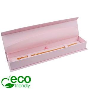 Milano ECO écrin pour bracelet, long Carton Doux au Toucher Rose / Mousse Rose 227 x 50 x 26