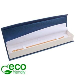 Milano ECO écrin pour bracelet, long Carton blue-blanc ivoire perlé/ Mousse blanche 227 x 50 x 26