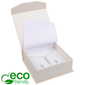 Milano ECO sieradendoosje armring / hanger Pearl ivoorwit karton/ Wit foam 85 x 81 x 32