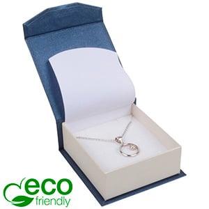 Milano ECO sieradendoosje voor oorbellen/ hanger Pearl blauw-ivoorwit karton/ Wit foam 65 x 70 x 27