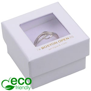 Boston Open ECO Jewellery Box for Ring Matt White FSC®-certified / rPET Window/White Foam 50 x 50 x 32