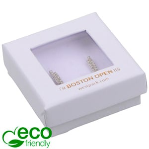 Boston Open ECO Jewellery Box for Earrings / Studs Matt White FSC®-certified / rPET Window/White Foam 50 x 50 x 20