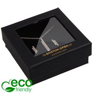 Boston Open ECO Jewellery Box Earrings/ Pendant Matt Black FSC®-certified / rPET Window/Black Foam 65 x 65 x 25