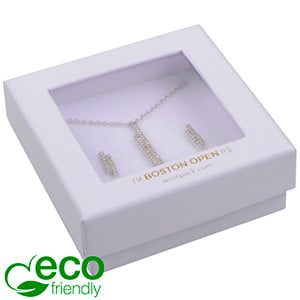 Boston Open ECO Jewellery Box Drop Earring/Pendant Matt White FSC®-certified / rPET Window/White Foam 65 x 65 x 25