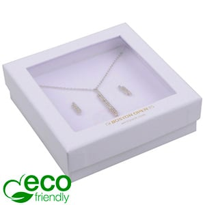 Boston Open ECO Jewellery Box for Bangle/ Pendant Matt White FSC®-certified / rPET Window/White Foam 86 x 86 x 26
