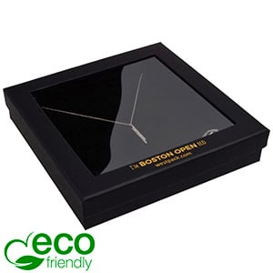 Boston Open ECO Jewellery Box for Necklace Matt Black FSC®-certified / rPET Window/Black Foam 167 x 167 x 32