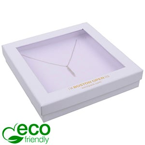 Boston Open ECO Jewellery Box for Necklace Matt White FSC®-certified / rPET Window/White Foam 167 x 167 x 32