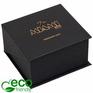 Miami ECO sieradendoosje voor ring / trouwringen Mat zwart FSC®-gecertificeerd karton/ Zwart foam 57 x 61 x 35