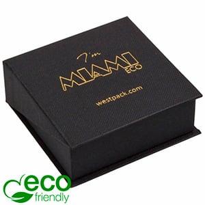 Miami ECO sieradendoosje voor oorbellen / hanger Mat zwart FSC®-gecertificeerd karton/ Zwart foam 66 x 66 x 27