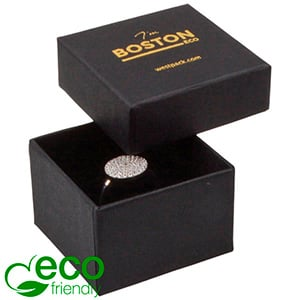 Boston Eco Opakowanie na pierścionek Matowy czarny karton/ czarna gąbka 50 x 50 x 32