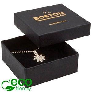 Boston ECO smykkeæske til øreringe / vedhæng Mat sort FSC®-certificeret karton/ Sort skum 65 x 65 x 25