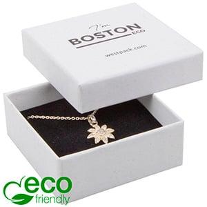 Boston ECO smykkeæske til øreringe / vedhæng Nistret Hvid FSC®-certificeret / Hvid-sort skum 65 x 65 x 25