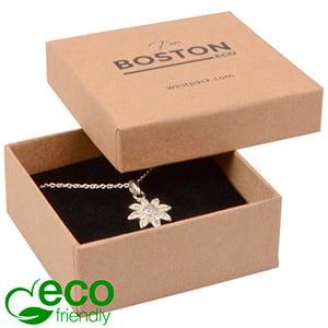 Boston ECO smykkeæske til øreringe / vedhæng Mat naturfarvet FSC®-certificeret karton/Sort skum 65 x 65 x 25