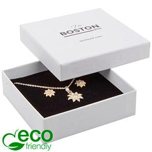 Boston ECO smykkeæske til halskæde / armbånd Nistret Hvid FSC®-certificeret / Hvid-sort skum 86 x 86 x 26