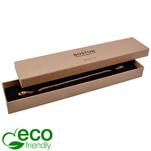 Boston Eco sieradendoosje voor armband Mat naturel karton / Zwart foam 225 x 50 x 22