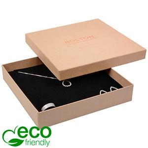 Boston ECO sieradendoosje voor collier / choker Mat naturel karton / Zwart foam 167 x 167 x 32