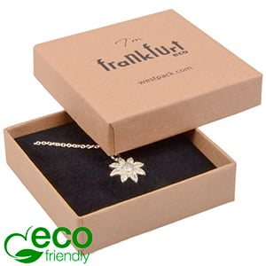 Frankfurt ECO Jewellery Box Drop Earrings/ Pendant Matt Brown FSC®-certified Cardboard / Black Foam 65 x 65 x 17