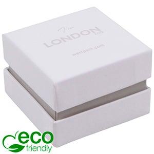 London ECO sieradendoosje voor ring Wit soft-touch karton/ Grijze kraag/ Wit foam 50 x 50 x 35