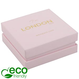 London ECO Jewellery Box for Drop Earrings/Pendant Rose Soft-Touch Cardboard/ Rose Foam 65 x 65 x 25