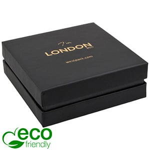 London ECO Jewellery Box for Bangle /Large Pendant Black Soft-Touch Cardboard/ Black Foam 86 x 86 x 30