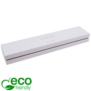 London ECO sieradendoosje voor armband Wit soft-touch karton/ Grijze kraag/ Wit foam 220 x 50 x 25