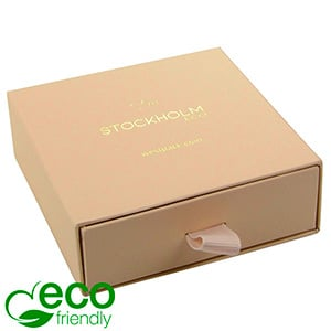 Stockholm ECO sieradendoosje armring/ hanger Warm Beige karton met stof-look / Zwart foam 85 x 85 x 30