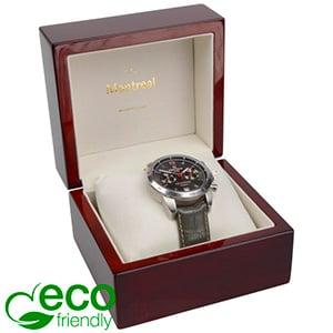 Montreal ECO sieradendoosje voor horloge Glanzend mahonie hout/ Creme velours interieur 125 x 115 x 87