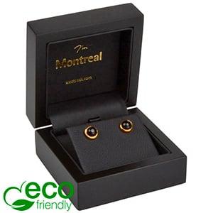 Montreal ECO sieradendoosje voor oorbellen/hanger Mat zwart hout/ Zwart Nabuca interieur 65 x 65 x 40
