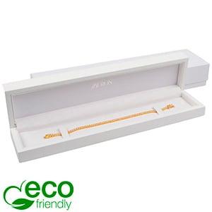 Berlin ECO sieradendoosje voor armband Glanzend wit hout/ Wit kunstlederen interieur 250 x 57 x 32